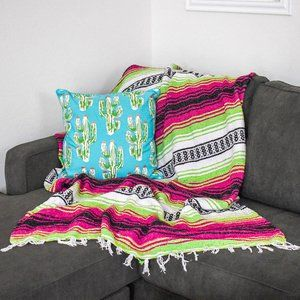 Boho Mexican Blanket Neon Candy Pink Lime Green